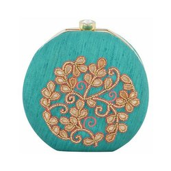 Azzra Green Zardosi Round Shape Box Clutch