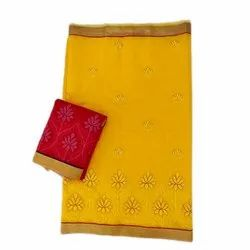 Embroidered Chanderi Chandari Embroidery Saree, 6 m (with blouse piece)