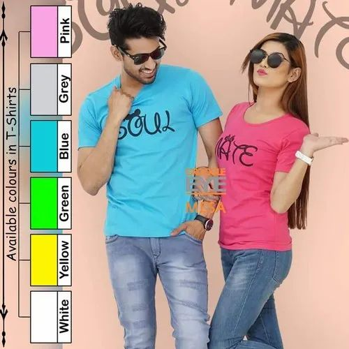 Couple Blue And Pink Cotton Custom T Shirt