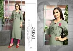 Party Wear 3/4th Sleeve Designer Straight Long Rayon Kurti