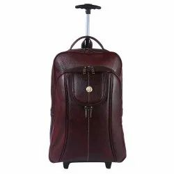 Hammonds Flycatcher Genuine Leather Brown Backpack With Trolley