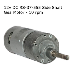 12v DC RS-37-555 Side Shaft Gear, Geared Motor - 10 rpm