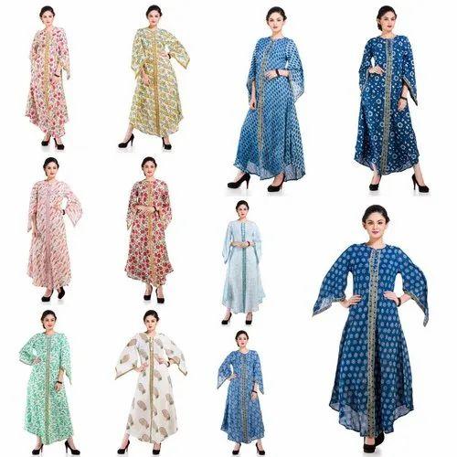 Round Neck Floral Printed Cotton Women' s Tunic/ Kaftan, Size: Regular