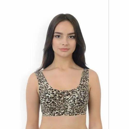 659697c3b2e28 Polyester Padded Animal Print Sports Bra