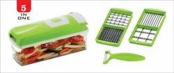 ATMAN 5 in 1 Fruit and Vegetable Graters, Slicer, Chipser, Dicer, Cutter Chopper (Green)