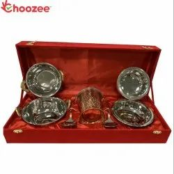 Choozee - Copper SS Handi, Bucket and Kadhai Set with Serving Spoon Round (10 Pcs)