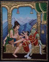 Shivan Parvati Murugan Tanjore painting
