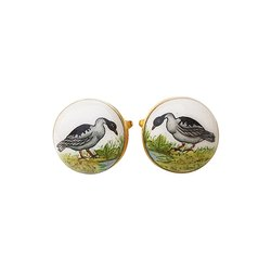 Hand Painted Exotic Birds Cufflinks In 925 Silver And Enamel