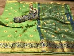 Real Zari Gold Banarasi Handloom Silk Saree