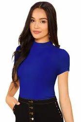 Multicolor Women''s Solid Regular Fit Half Sleeve T-Shirt