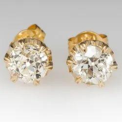 Gold Golden 2 ct Moissanite Stud Earrings