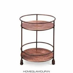 Home Glamour SS & Wooden Albi Side Table