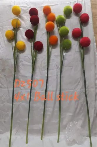 Artificialflower Plastic&Polyester D2507 Ball Stick, For Decoration, Packaging Size: 300 Pieces