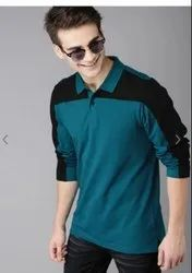 Plain Full Sleeves Mens Blue and Black Collar T Shirt, Size: S to XXL