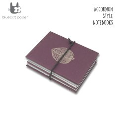Dark Mauve Accordion Style Journal/Notebook - Biscuit Leaf