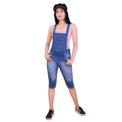 Knee Length Plain Denim Dungaree