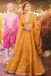Yellow Embroidered Thai Silk wedding wear in usa bridal boutique