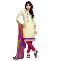 Cream Colored Cotton Zari Bordered Un-Stitched Salwar Suit