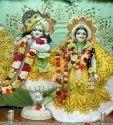 White Marble iskcon Radha Krishna Statue