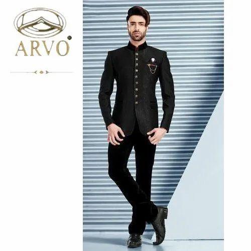 Black Plain Mens Designer Jodhpuri Suit