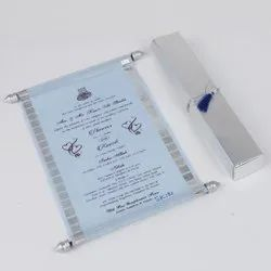 Shimmer Sky Blue Wooly Paper Scroll Invitation Card