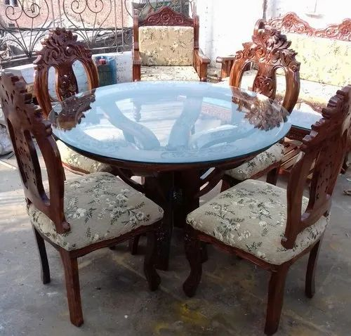 4 Chair Round Table Dining Set, Round Glass Dining Table Set 4 Chairs