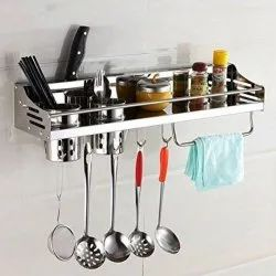Kawachi Stainless Steel Kitchen Organizer Knife Holder & 2 Utensil Cup & Spice Rack