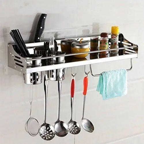 Kawachi Stainless Steel Kitchen Organizer Knife Holder 2 Utensil Cup Spice Rack
