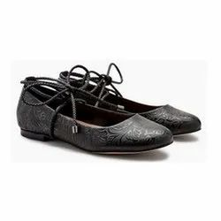 Black Casual Wear Ladies King Leather Ballerina Shoes, Size: 6 To 10