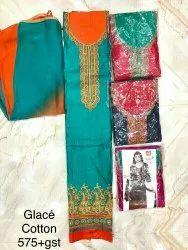 Unstitched Unstitch Pure Glace Cotton Heavy Embroidery Designer Suit