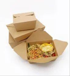 Rectangular Packing Material Brown Kraft Paper Take Away Disposable Food Box, Size/Dimension: Standard