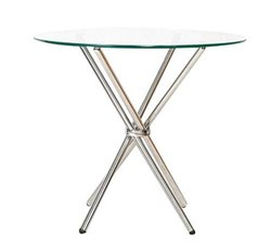 Round av furnitures Cafeteria Table with Glass Top & Metallic Base, Seating Capacity: 4