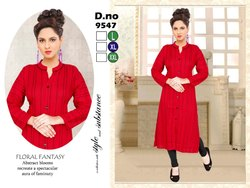 Full Sleeves Line Pattern Red Color Linen Kurti