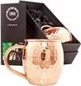 Hammered Moscow Mule Pure Copper Mug with Welded Handle in Satin Gift Box, Set of 2