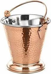 Wandcraft Exports Hammered Steel Copper Dal Food Serving Bucket Balti