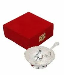 Preyog High-Class Silver Plated Bowl Set With Spoon