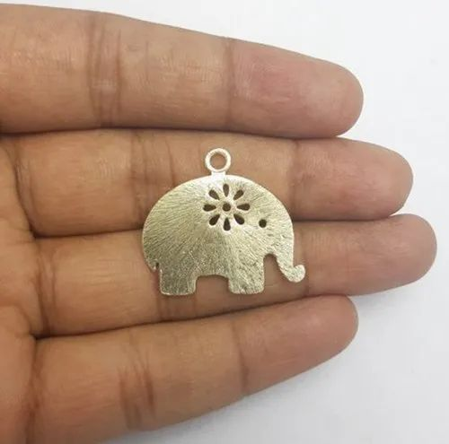 Gold Plated Brushed Flower Cutout Elephant Shaped Charms