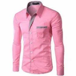 Light Pink Cotton Designer Mens Shirt