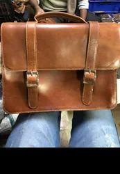 Unisex Folding Closure Type Leather Portfolio Bag
