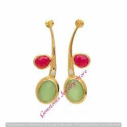 Earring 925 Sterling Silver Fuchsia Chalcedony & Sea Green Chalcedony Gemstone Earrings