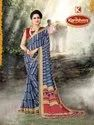 Printed Silk Crepe Saree - Fire Fly-03