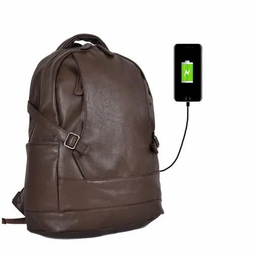 Anti Theft Backpack Brown Polyester Waterproof Casual Bag With USB Charging Port Unisex