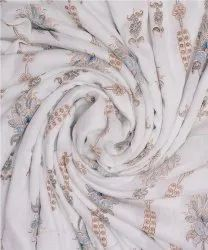 Golden Floral Printed Cotton Crepe Fabric