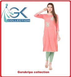 Ladies Rayon Peach Embroidery Kurti