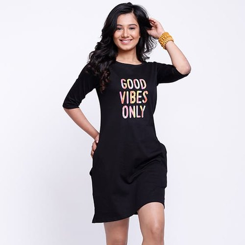 Good Vibes Printed T-Shirt Dresses