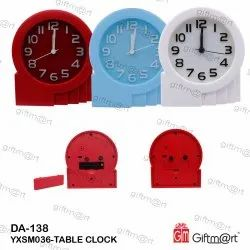 Giftmart Red,Blue & White Analog Table Clock, Size: 12.5 X 11.5 Cm