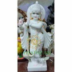 White Krishna Marble Moorti