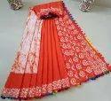 Dabu Printed Pompom Sarees