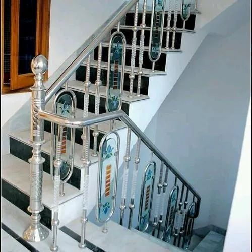 Metallic Gray Toughened Stainless Steel Staircase Railing, for Home