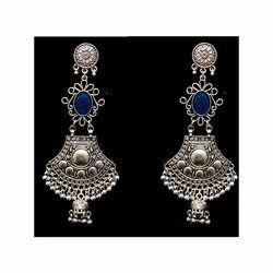 Oxidized Blue Stone Earrings